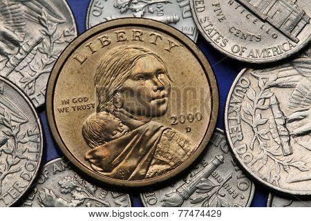 Coins of USA. Sacagawea with her child depicted on the US Sacagawea dollar.