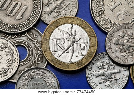 Coins of France. Genius of Liberty by Auguste Dumont from the top of the July Column depicted in the old 10 French franc coin.
