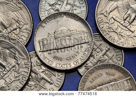 Coins of USA. Monticello Estate owned by Thomas Jefferson depicted on the US nickel coin.