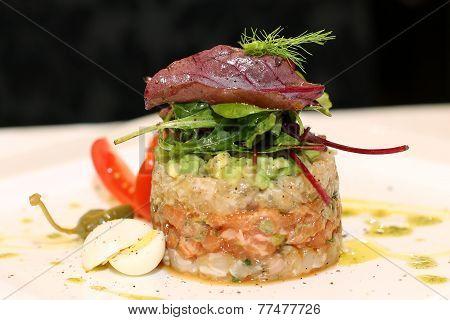 Macro scene of salmon tartar