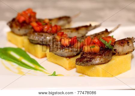 Macro scene with grilled ribs