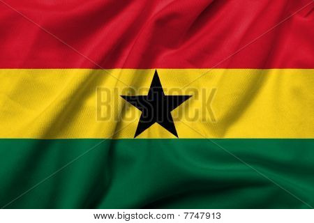 3D Flag Of Ghana Satin