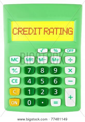 Calculator With Credit Rating On Display