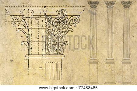 detail of corinthian column and three columns on background of ancient paper poster