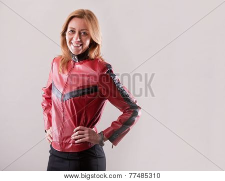 hard rock motorbiker woman in red leather jacket poster