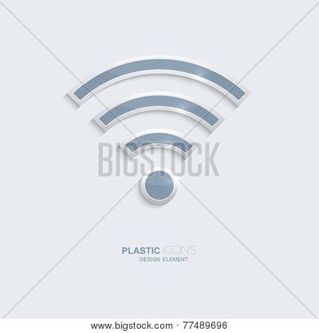 Plastic icon symbo wi-fi  zonel.