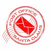post office santa claus grunge stamp with on vector illustration poster
