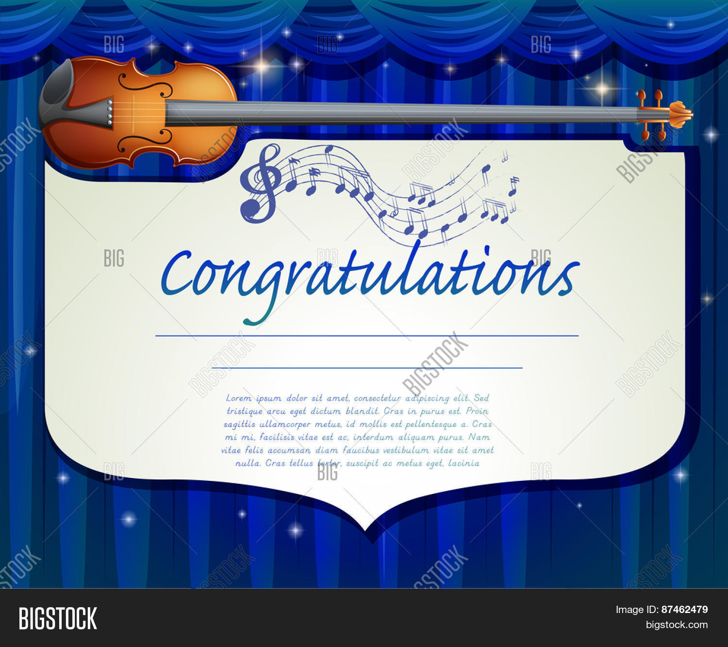 Certificate template design music vector photo bigstock certificate template design with music background 1betcityfo Image collections