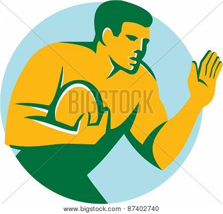 Rugby Player Fend Off Circle Retro