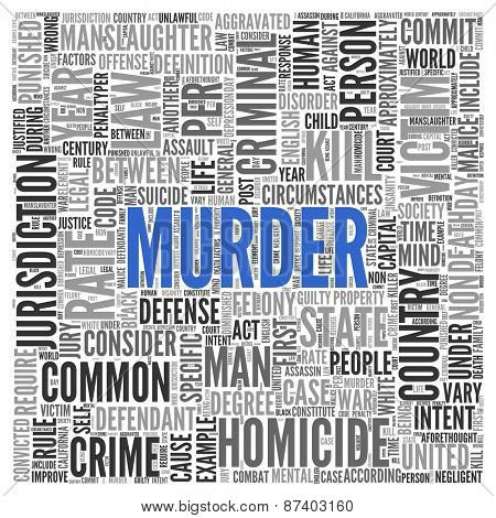 Close up Blue MURDER Text at the Center of Word Tag Cloud on White Background.
