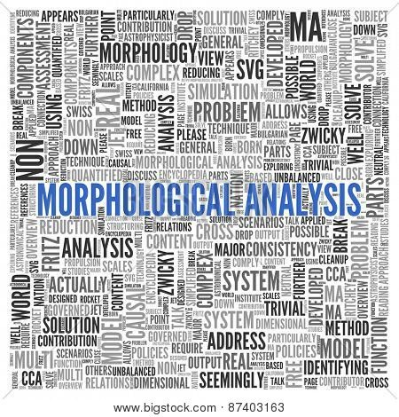 Close up Blue MORPHOLOGICAL ANALYSIS Text at the Center of Word Tag Cloud on White Background.