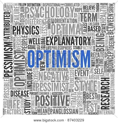 Close up Blue OPTIMISM Text at the Center of Word Tag Cloud on White Background.