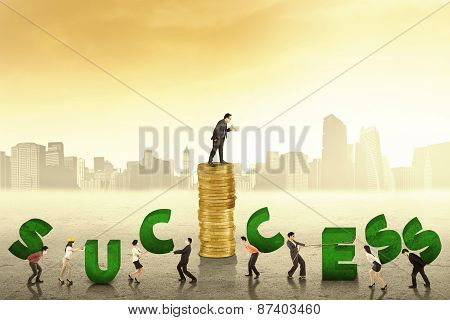 Businesspeople Create A Success Text