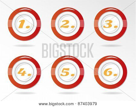 Set, collection of six, isolated, round, red, icons, buttons with orange numbers - one, two, three,