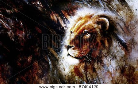 Lion Portrait On Abstract Background With Feather Pattern, Rust Effect
