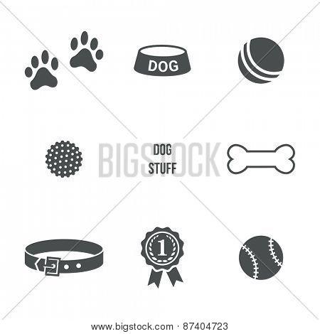 Dog stuff icons set