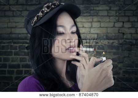 Lovely Teenage Girl Smoking Cigarette