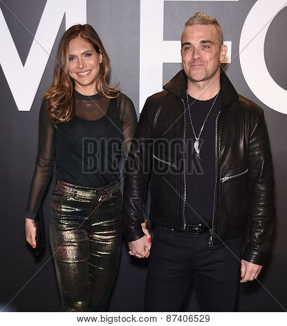 LOS ANGELES - FEB 20:  Robbie Williams & Ayda Field arrives to the Tom Ford Autumn/Winter 2015 Womenswear Collection Presentation  on February 20, 2015 in Hollywood, CA