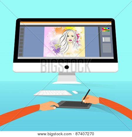 Graphic designer photographer portrait photo retouch workspace