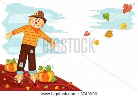 Autumn - Pumpkin And Scarecrow