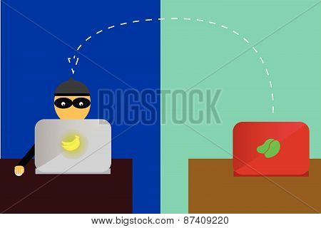 Illustration for man cyber crime