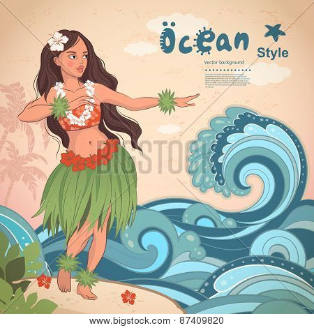 Retro style Hawaiian beautiful hula girl