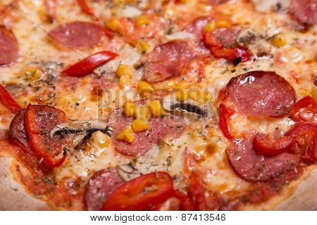 Close-up shot of delicious Italian pizza with pepperoni and mushrooms, selective focus     poster