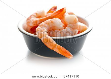 tasty prawns on white background poster