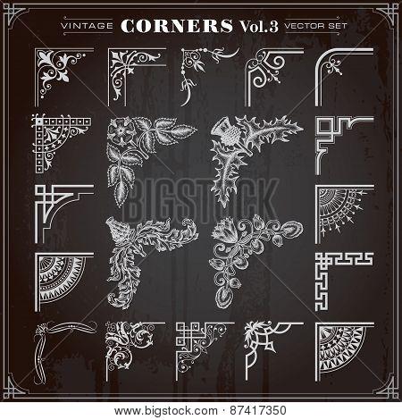 Vintage Design Elements Corners And Borders Set 3