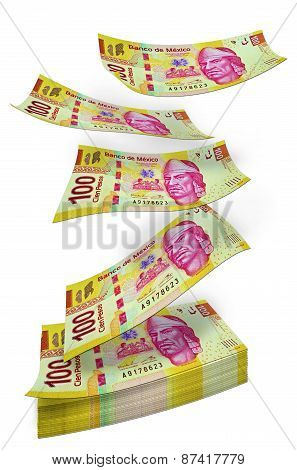 Mexican Peso money pile