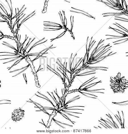 seamless pattern with pine branches