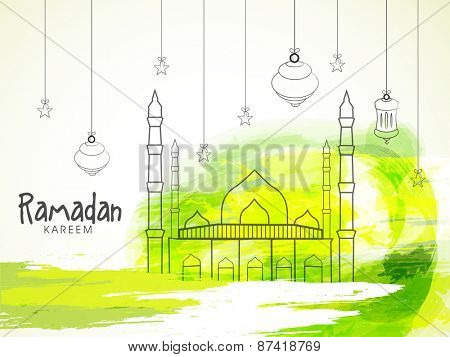 Illustration of a mosque with hanging lantern on colourful yellow and green background for holy month of prayers, Ramadan Kareem celebrations.