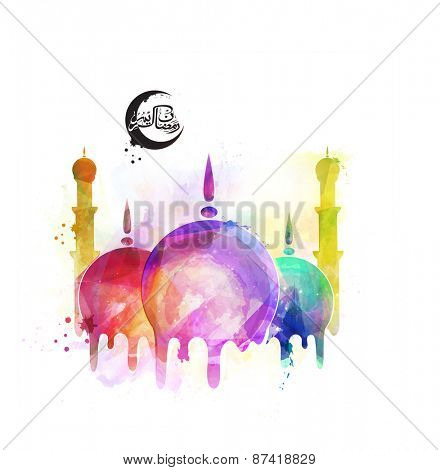 Islamic mosque with colorful splash and arabic calligraphy text Ramazan Kareem (Ramadan Kareem) for holy month of muslim community festival celebration.