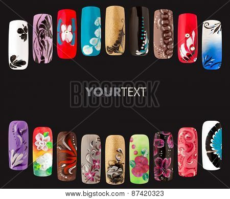 Nail art handmade. Colorful nails isolated a black background