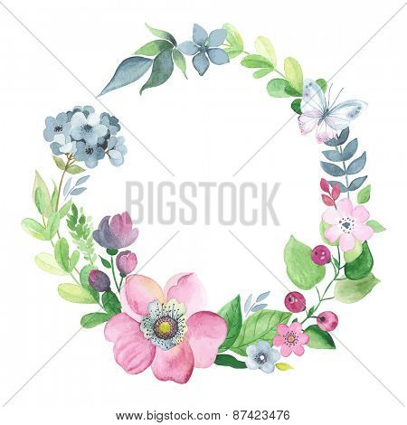 Wreath of watercolor floral elements with butterfly.
