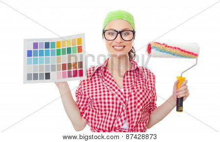 Smiling Female Holding Paintbrush And Color Samples For Selection, Isolated On White. Housewife Choo