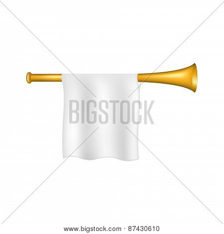 Trumpet with white flag