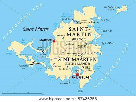 Saint Martin Island Political Map