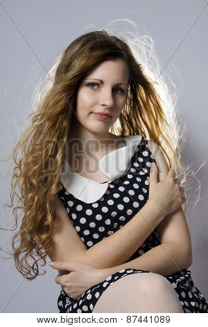 Young Long-haired Curly Blonde Woman