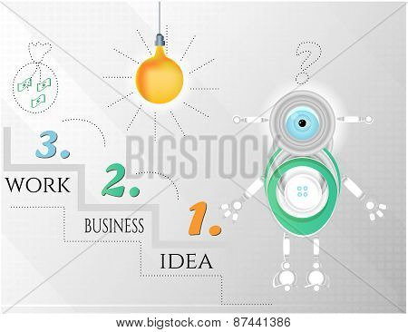 Modern, abstract infographic with numbers, text, light bulb, money and robot, design template