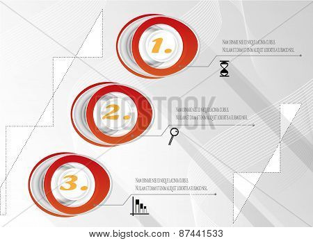 Modern, abstract, gray, red infographic with numbers, black icons - graph, hourglass, magnifier, tex