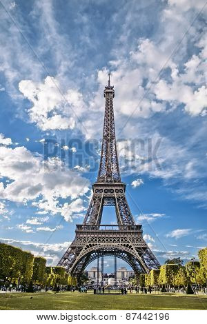 Eiffel Tower, View From The Champs De Mars.
