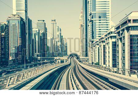 Dubai, United Arab Emirates - December 19, 2013: Dubai Metro is world's longest driver less, fully automated metro network in Dubai, United Arab Emirates