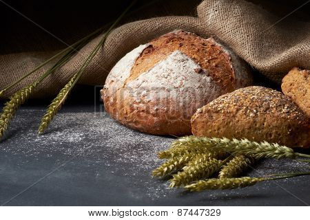 Freshly Baked Traditional Bread On A Table