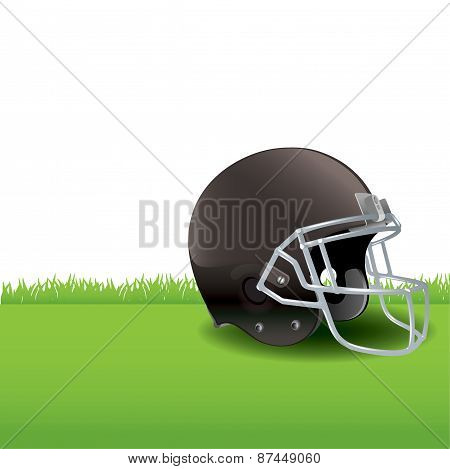 American Football Helmet Sitting On Grass Illustration