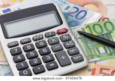 Calculator With Euro Bills