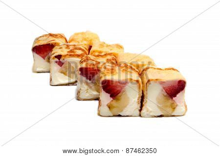Sweet Sushi With Banana, Strawberries And Cheese