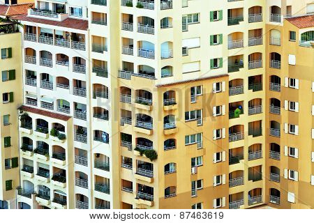 Modern city residential apartments in high rise building with balconies