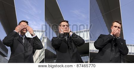 Business Man See No Evil, Hear No Evil, Speak No Evil, Urban Scene