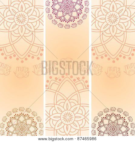 Indian henna elephant vertical banners
